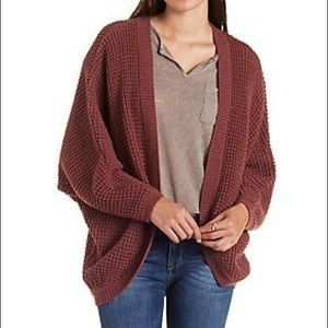 Waffle olive cocoon open cardigan